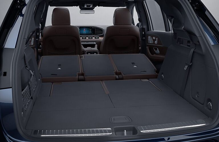 Rear cargo area with seats folded down of a 2020 Mercedes-Benz GLE
