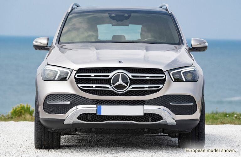 front view of a silver 2020 Mercedes-Benz GLE SUV