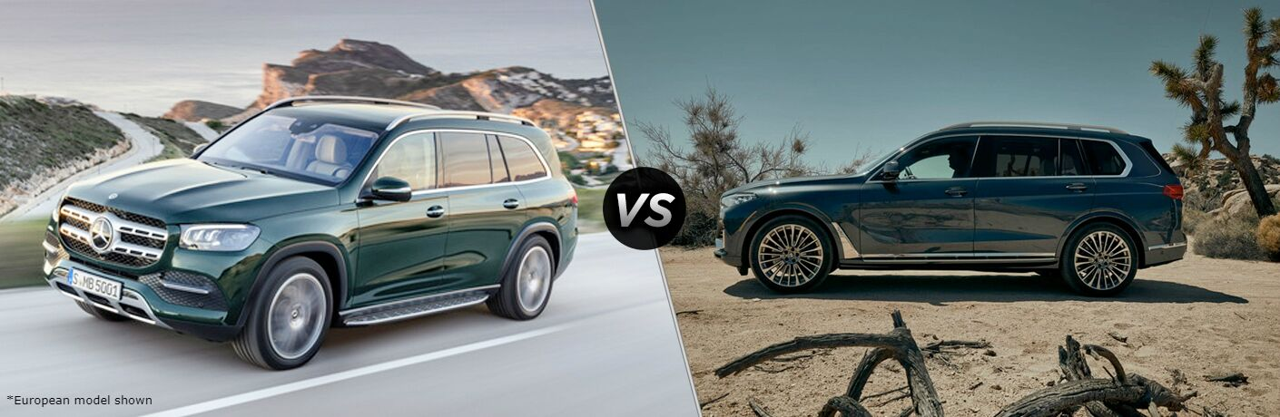 """2020 Mercedes-Benz GLS and 2020 BMW X7, separated by a diagonal line and a """"VS"""" logo."""
