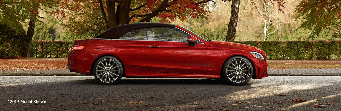 side view of a red 2020 Mercedes-Benz C-Class Cabriolet