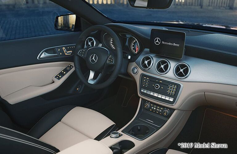 Interior front cabin of a 2020 Mercedes-Benz GLA SUV.