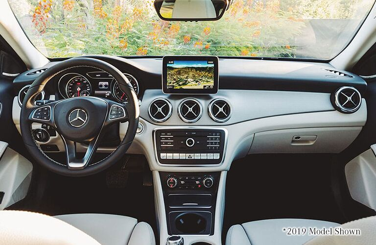 Interior cockpit of Mercedes-Benz GLA SUV, text reads *2019 Model Shown