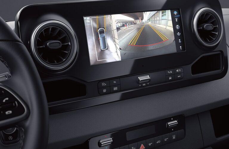 Close-up on backup camera inside Mercedes-Benz Sprinter