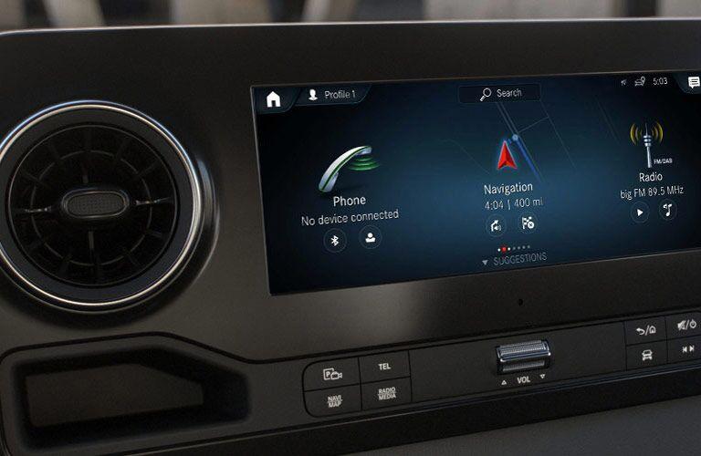 Infotainment screen functions inside Mercedes-Benz Sprinter