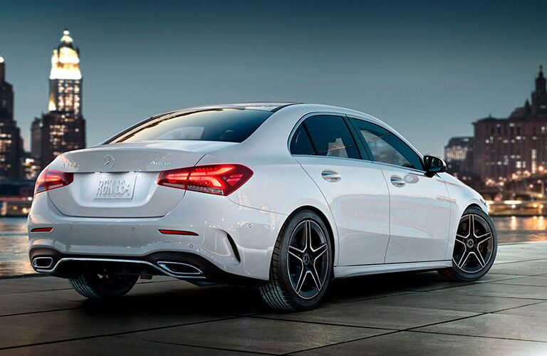 White 2021 MErcedes-Benz A-Class observes a distant fortress