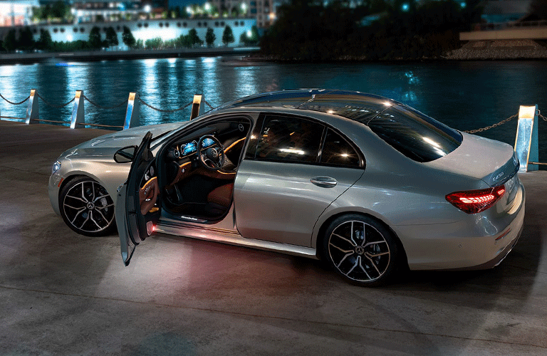 Side view with open door of 2021 Mercedes-Benz E-350 Sedan