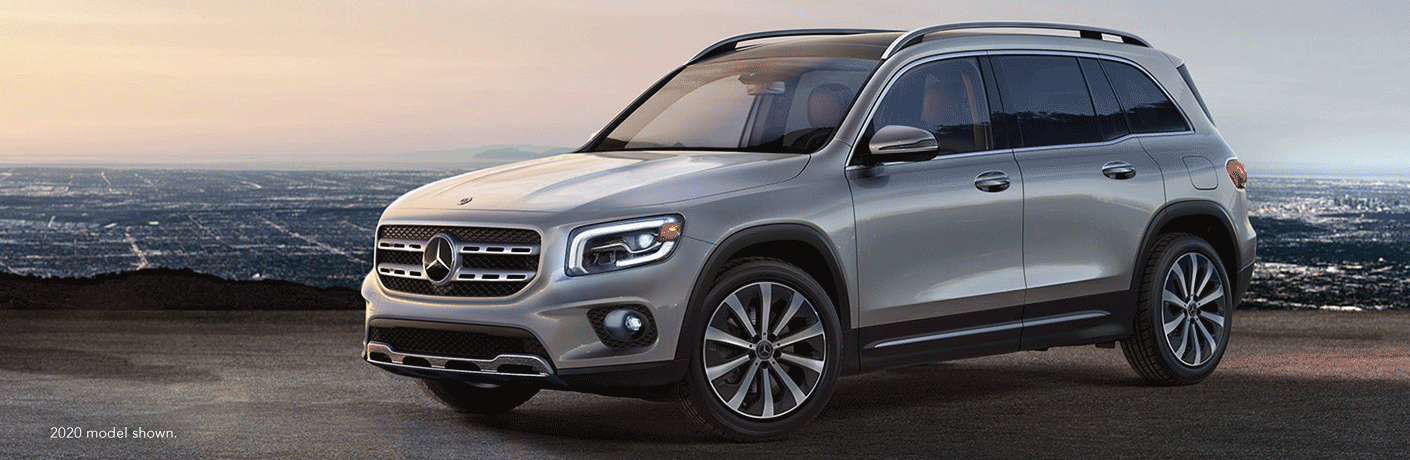 """2020 Mercedes-Benz GLB SUV on a cliff. Text reads, """"2020 model shown."""""""