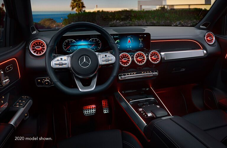 """Illuminated cockpit of Mercedes-Benz GLB. Text reads, """"2020 model shown."""""""