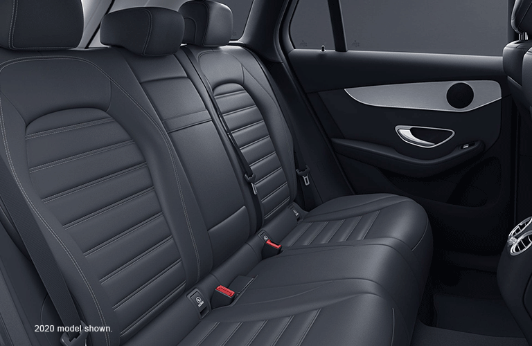 Rear seats inside a 2021 Mercedes-Benz GLC