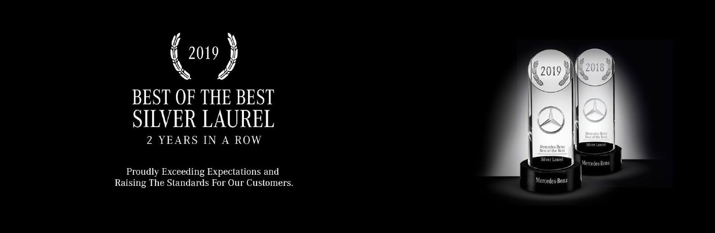 "White text on a black background reads, ""2019 BEST OF THE BEST SILVER LAUREL 2 YEARS IN A ROW Proudly Exceeding Expectations and Raising The Standards For Our Customers."" Two images of the trophies in question stand to the right."