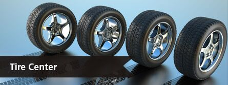 """Tire Center"" button with an image of four beautiful wheels."