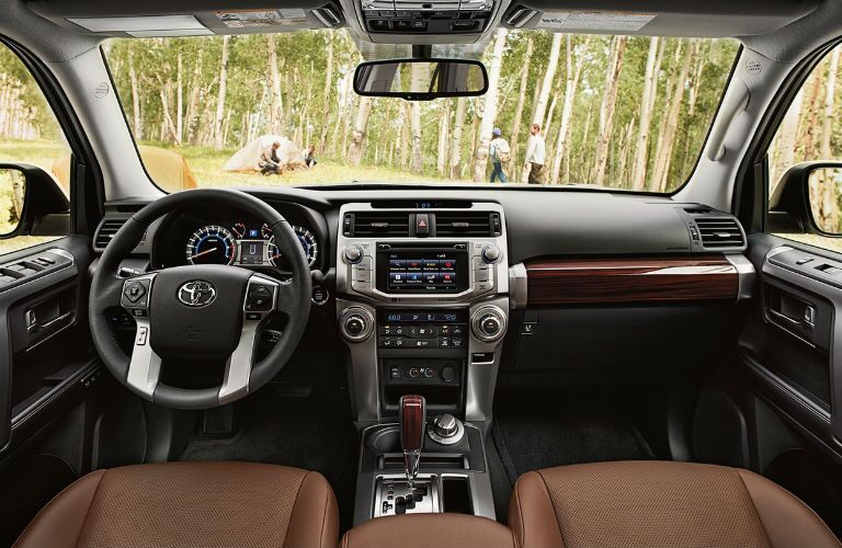 Steering wheel and Touchscreen inside the 2018 Toyota 4Runner