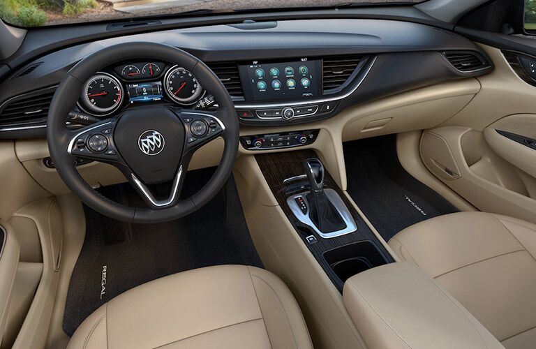 2019 Buick Regal TourX dashboard with tan upholstery