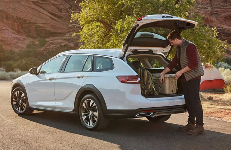 2019 Buick Regal TourX trunk open with camping equipment