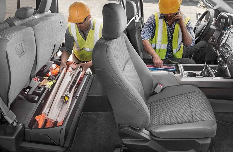 Construction workers in the 2019 Ford Super Duty F-250