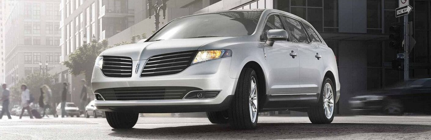 2018 Lincoln MKT exterior front fascia and drivers side on town road