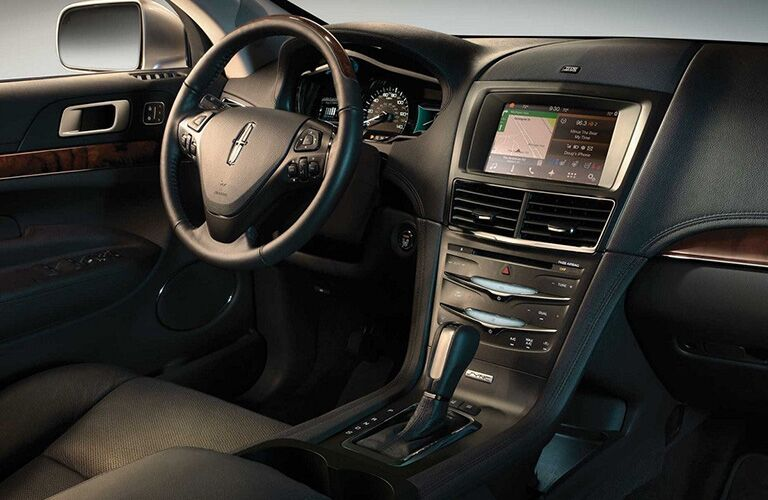 2018 Lincoln MKT interior front cabin steering wheel and dashboard