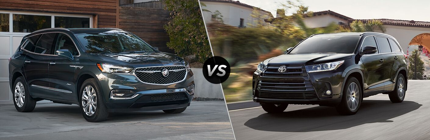 Black 2019 Buick Enclave and black 2019 Toyota Highlander
