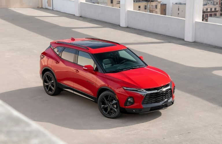 2019 Chevy Blazer in red on road