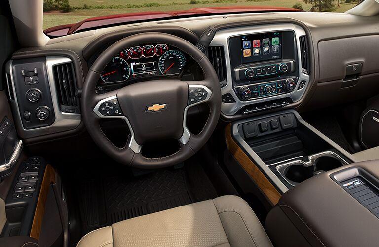 2019 Chevy Silverado 1500 interior front cabin steering wheel and dashboard