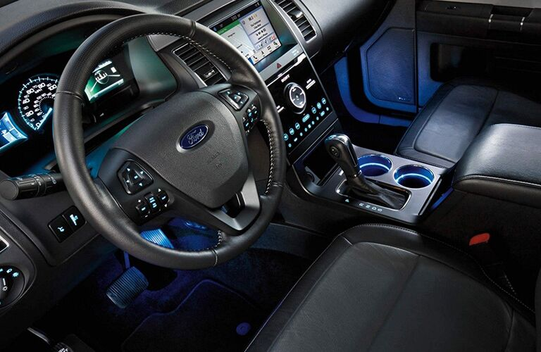 2019 Ford Flex interior front cabin steering wheel and partial dashboard