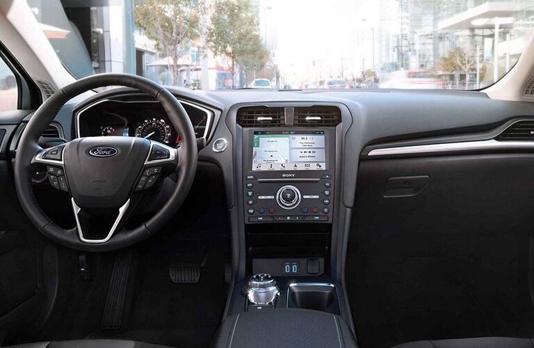 Steering wheel and dashboard in 2019 Ford Fusion