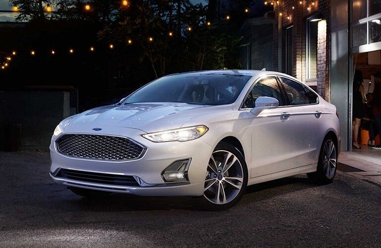 2019 Ford Fusion outside home with string lights