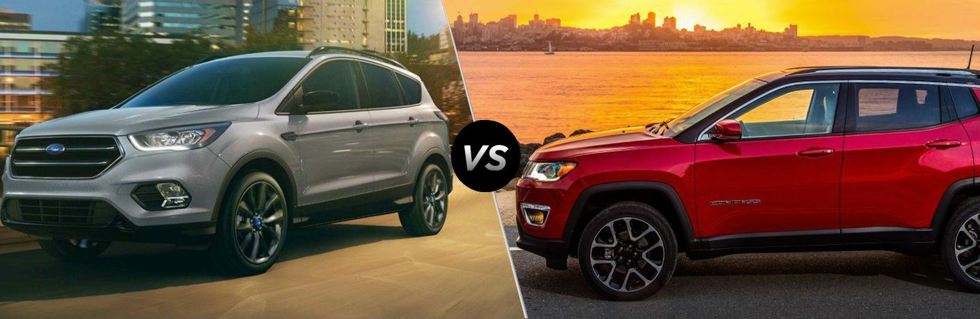 Silver 2019 Ford Escape and red 2019 Jeep Compass