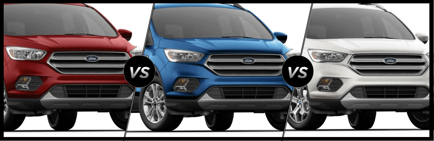 Red 2019 Ford Escape SE, blue 2019 Ford Escape SEL, white 2019 Ford Escape Titanium