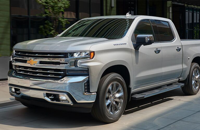 Exterior front/side view of a 2020 Chevy Silverado