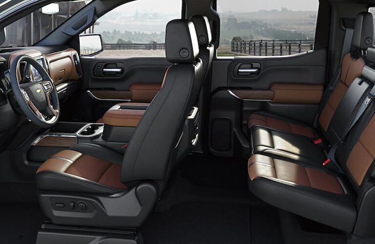 Side view of the seats inside a 2020 Chevy Silverado