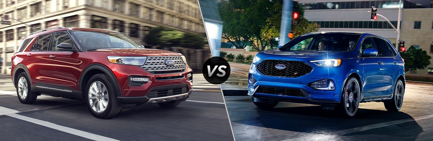 2020 Ford Explorer exterior front fascia passenger side vs 2020 Ford Edge exterior front fascia driver side in city at night headlights on