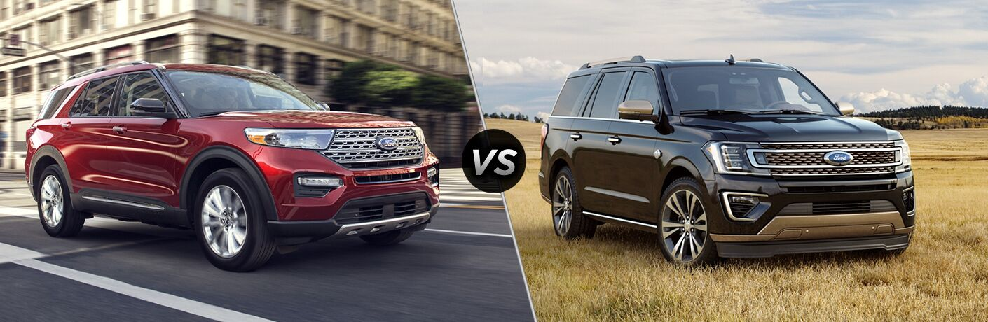 2020 Ford Explorer exterior front fascia and passenger side vs 2020 Ford Expedition exterior front fascia passenger side