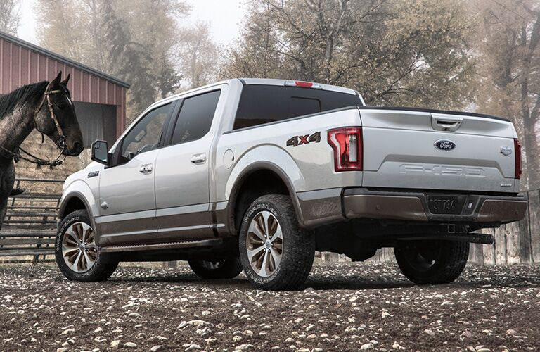 Rear/side profile of silver 2020 Ford F-150