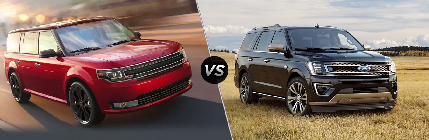 2019 Ford Flex exterior front fascia and passenger side vs 2020 Ford Expedition exterior front fascia and passenger side in wheat field