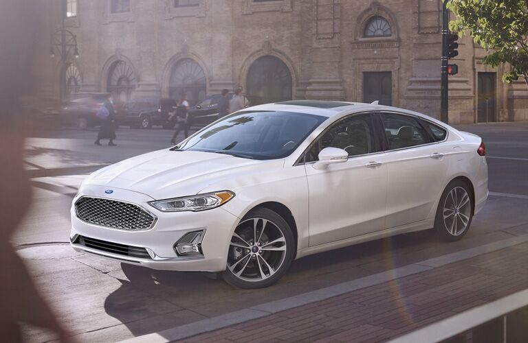 2020 Ford Fusion in white