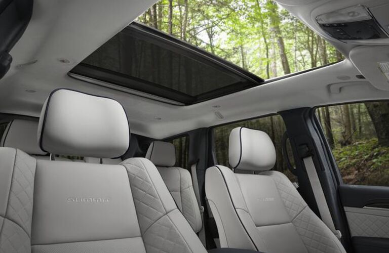 2020 Jeep Grand Cherokee interior view up at dual pane panoramic sunroof
