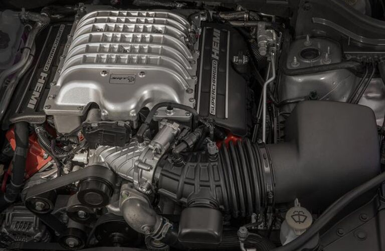 2020 Jeep Grand Cherokee close up of engine and other mechanical components