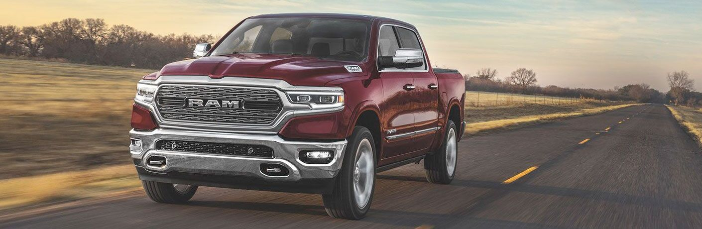 Red 2020 RAM 1500 rolls up a highway