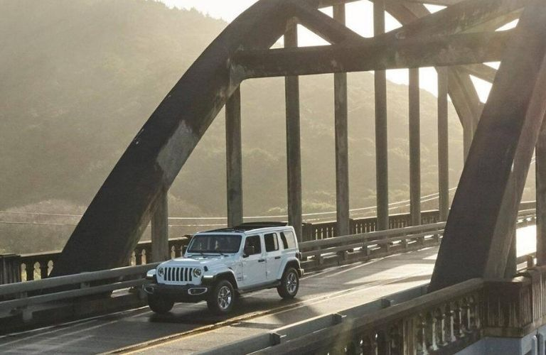 2020 Jeep Wrangler Unlimited crossing a bridge
