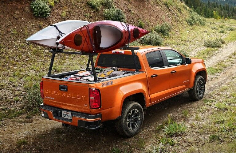 2021 Chevrolet Colorado with kayak rack on trail