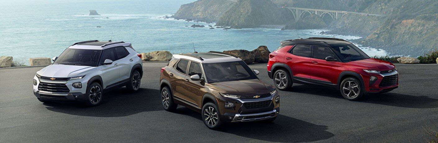 2021 Chevy Trailblazer multiple color options side by side