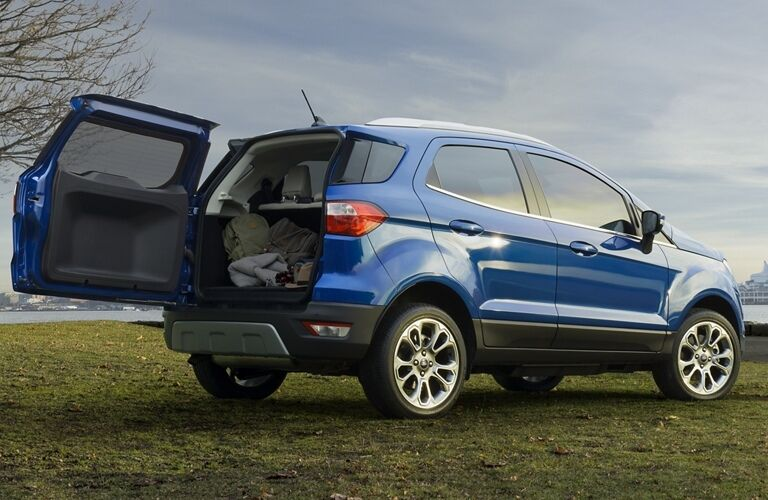 2021 Ford EcoSport blue back side view with hatch open