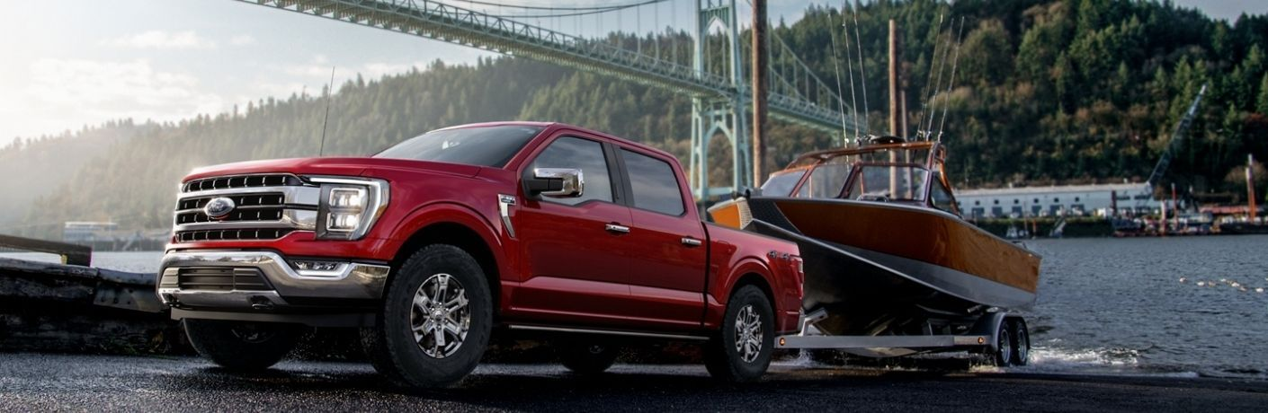 2021 Ford F-150 towing a boat