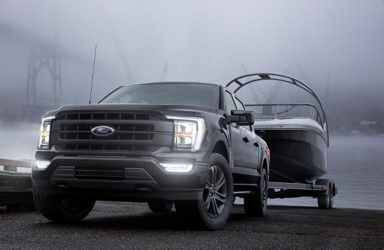 2021 Ford F-150 hauling a boat