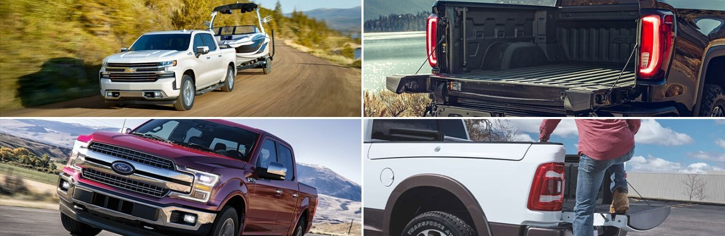 Collage of pickup trucks from Chevy, GMC, Ford, and RAM