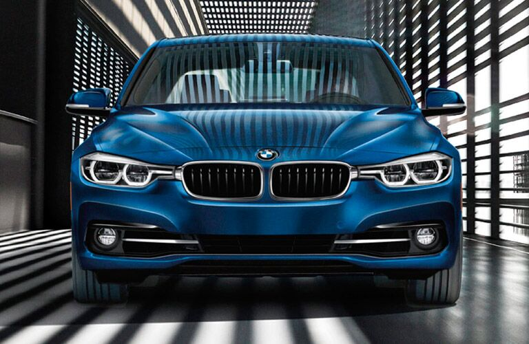 head-on view of blue BMW grille