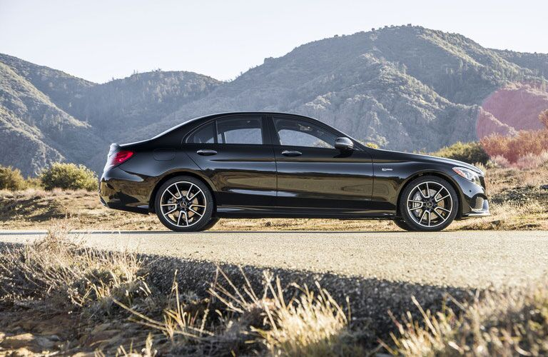 2018 Mercedes-Benz C-Class side profile parked in the desert