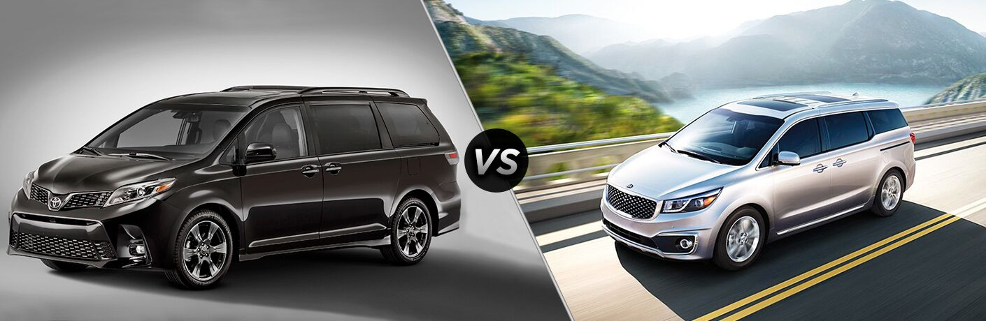 2018 Toyota Sienna and the 2018 Kia Sedona with a vs sign in the middle