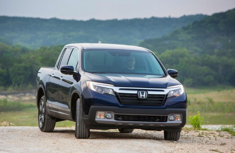 2020 Honda Ridgeline parked in front of hills from exterior front